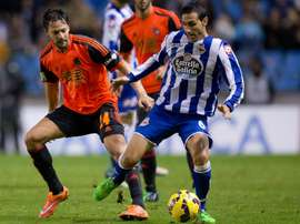 Castro Luisinho et Juanfran Moreno lors du match Deportivo La Coruña - Real Sociedad. GOAL