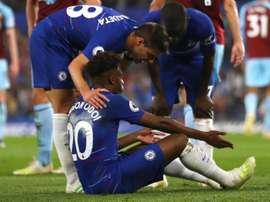 Callum Hudson-Odoi went down in agony for Chelsea. GOAL