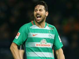 Claudio Pizarro, lors d'un match de Bundesliga avec le Werder Brême. AFP