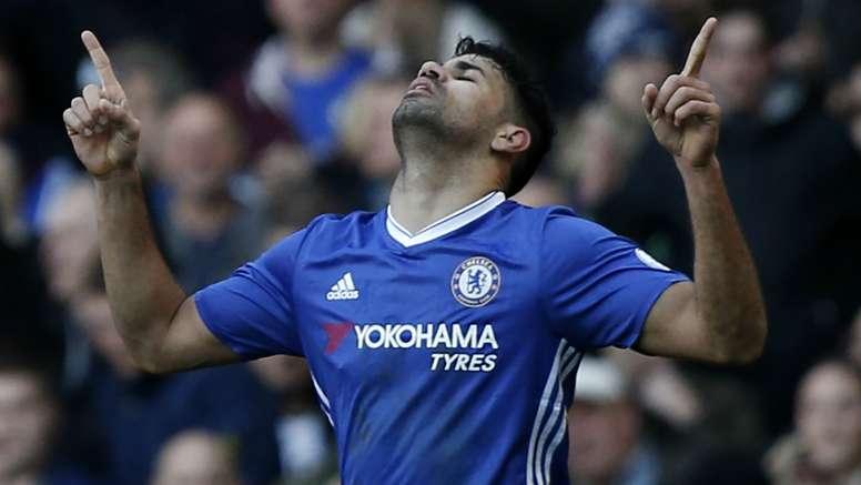 Costa celebrating a goal. Goal