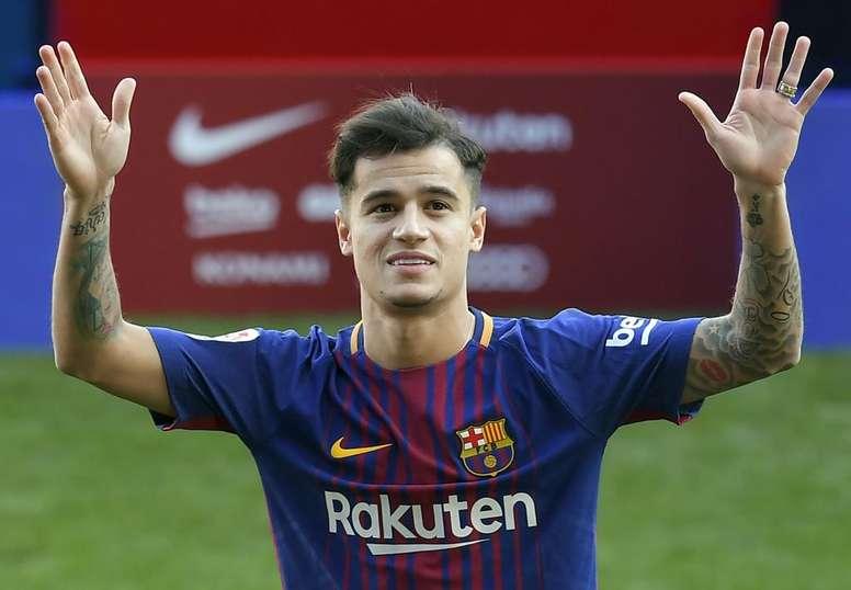 Coutinho lors de sa présentation au Barça. GOAL