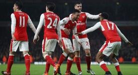 Arsenal celebrating a goal. Goal