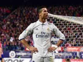 Cristiano Ronaldo celebrates scoring in the Madrid derby. Goal