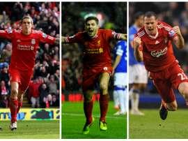 Les légendes de Liverpool, Daniel Agger, Steven Gerrard et Jamie Carragher. Goal