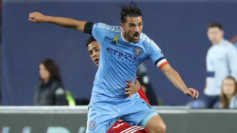 David Villa hails the Argentinian. Goal