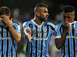 Os jogadores do Grêmio saíram insatisfeitos de Montevideu. GOAL