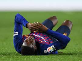 Barcelona forward Dembele set for tests on sprained ankle. Goal