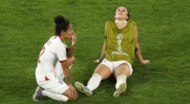 Lucy Bronze (R) is confident England will end up winning a major trophy. GOAL
