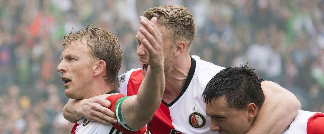Dirk Kuyt célèbre son but en Ligue hollandaise entre Feyenoord et Heracles. AFP