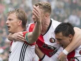 Dirk Kuyt célèbre son but en Ligue hollandaise entre Feyenoord et Heracles. AFP