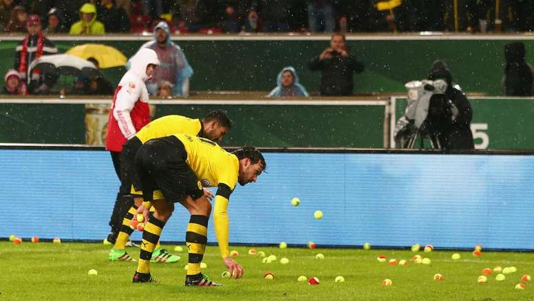 Tennis balls rained from the stands at Dortmund. GOAL