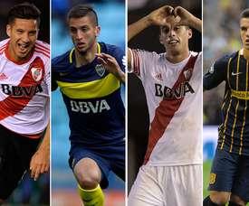 Collage de Driussi, Bentancur, Funes Mori et Lo Celso. Goal
