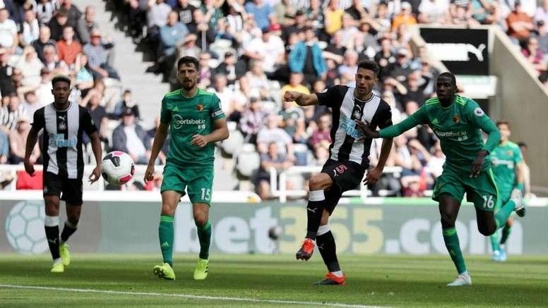 Schar should have seen his goal against Newcastle taken away by the VAR for handball. GOAL
