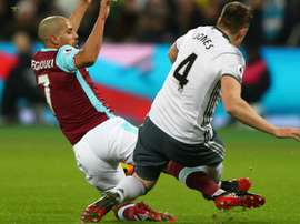 Feghouli was sent off for this challenge on Phil Jones, Goal