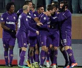 Fiorentina celebrating vs Juventus Serie A