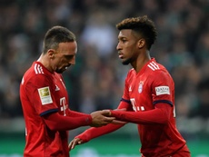 Franck Ribery pictured with Kingsley Coman. GOAL