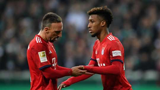 Franck Ribery and Kingsley Coman pictured for Bayern. GOAL