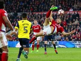 Gestede with a spectacular overhead kick. Goal