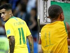 Coutinho encontra garoto que improvisou camisa na Copa do Mundo em homenagem ao craque