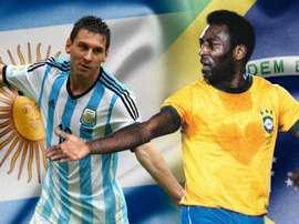 Pelé ou Messi? Qual destes é a grande referência na história do esporte mais popular do mundo? AFP