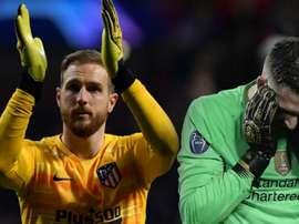 As reações de Simeone e Klopp com Oblak e Adrián. Goal