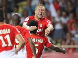Glik fête son but lors du Monaco-Toulouse. AFP