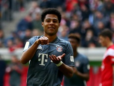 Serge Gnabry with his trademark celebration. GOAL