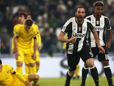 Gonzalo Higuain celebrates scoring against Dinamo Zagreb. Goal