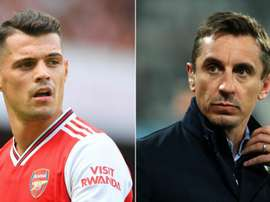 Gary Neville (R) says Xhaka (L) has to develop a thick skin and accept fan criticism. GOAL