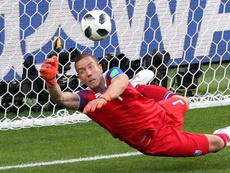 Halldorsson shot to fame for his penalty heroics. GOAL