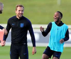 Harry Kane and Raheem Sterling at England training. GOAL