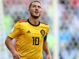Hazard back in Belgium kit. GOAL