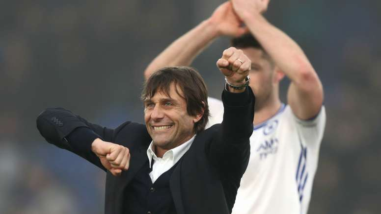 Antonio Conte celebrates Chelsea's win over Crystal Palace. Goal