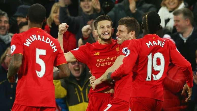 HD Liverpool celebrate Adam Lallana goal