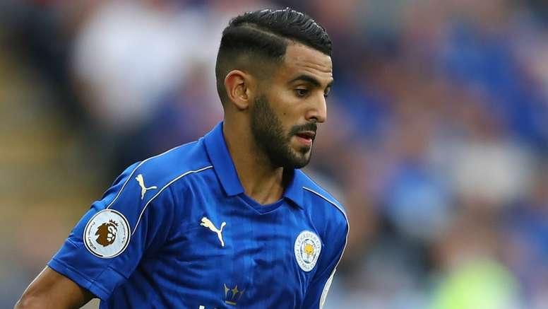 Riyad Mahrez playing for Leicester City. Goal