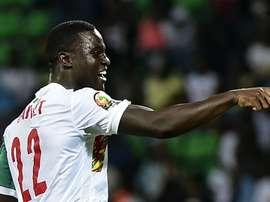 Henri Saivet celebrates scoring for Senegal. Goal