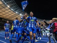 Hertha celebrate their victory over Bayern Munich. GOAL