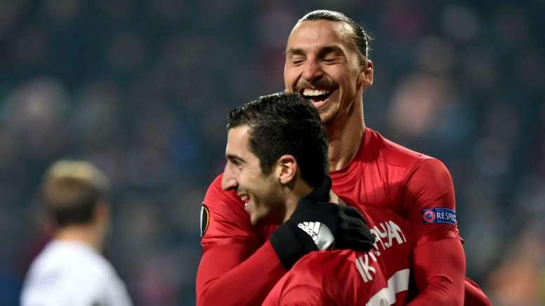 Ibrahimovic and Mkhitaryan hugging. Goal