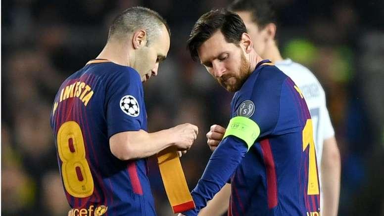 Pin Iniesta Messi Barcelona captain. Goal b2ee793d2d764