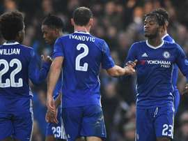 Chelsea players celebrating. Goal