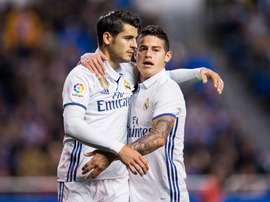 Alvaro Morata et James Rodríguez lors d'un match de Liga. EFE