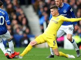 Jorginho in the Premier League tie against Everton. GOAL