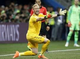 O goleiro Schmeichel teve um grande desempenho contra a Croácia. Goal