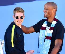 De Bruyne (L) would be happy to become City's captain. GOAL