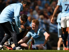 De Bruyne was once again escorted out because of an injury. GOAL