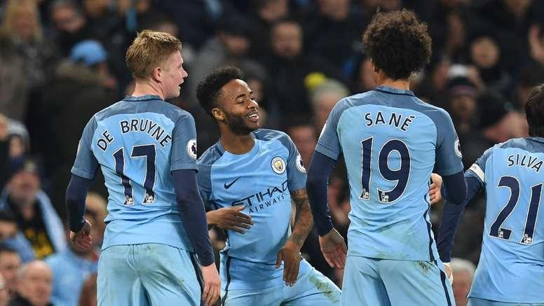 Sterling celebrates scoring the winning goal against Arsenal. Goal