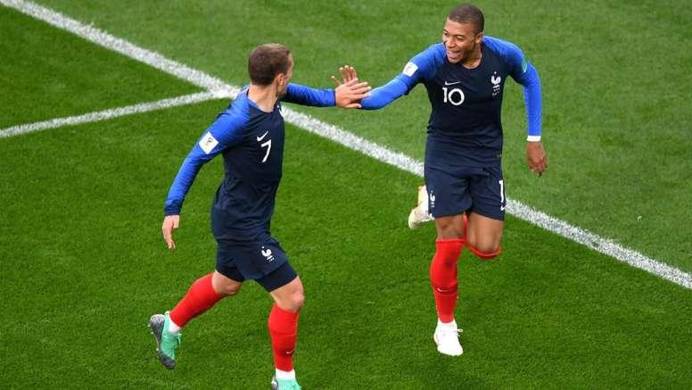 Kylian Mbappe Antoine Griezmann France Peru World Cup 2018. Goal