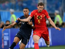 Mbappe lined up against Vertonghen in the semi-final clash. AFP