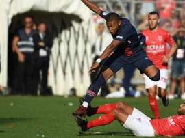 Kylian Mbappe was sent off in the match. GOAL