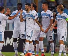 Lazio celebrates Luis Alberto goal vs. Apollon